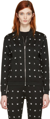 McQ Alexander McQueen Black Swallows Bomber Jacket $450 thestylecure.com