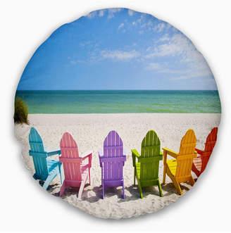 """Adirondack (アディロンダック) - Design Art Designart 'Adirondack Beach Chairs' Seashore Photo Throw Pillow - 16"""" Round"""