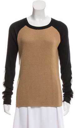Reed Krakoff Heavy Leather-Trimmed Sweater