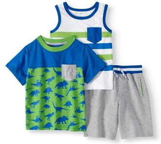 Healthtex Toddler Boy Tank Top, Colorblock T-shirt & Knit Shorts, 3pc Outfit Set