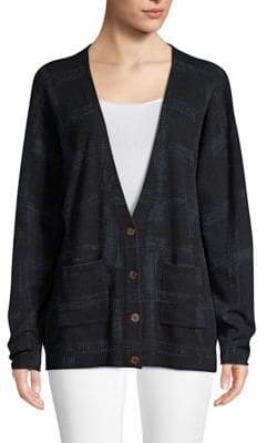 Autumn Cashmere Plaid-Print Cashmere Cardigan