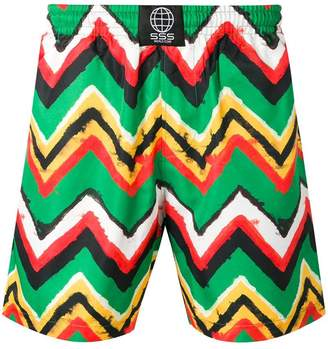 SSS World Corp zig-zag print swim shorts