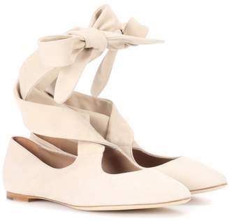 The Row Elodie suede ballerinas