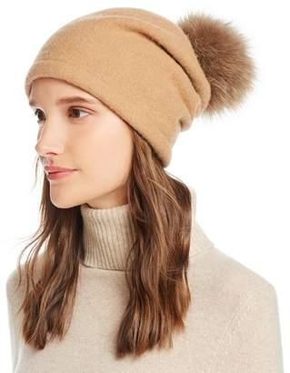 Helene Berman Fox Fur Pom-Pom Wool Beanie