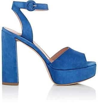 Barneys New York Women's Suede Platform Ankle-Strap Sandals - Blue