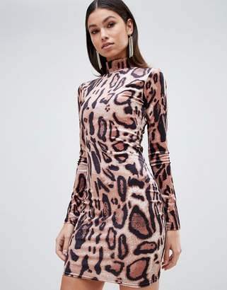 Club L high neck leopard print mini bodycon dress in velvet