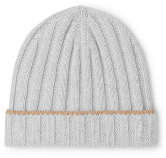 80ce7191 Brunello Cucinelli Contrast-Tipped Ribbed Cashmere Beanie