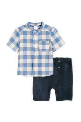 H&M Band-collar Shirt and Shorts - Dark blue/checked - Kids