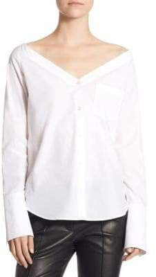 A.L.C. Wes Off-the-Shoulder Button-Down Top