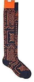 Sacai Men's Hawaiian-Print Knee Socks-Navy, Orange