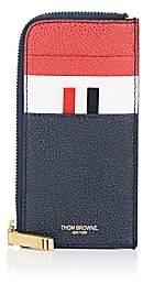 Thom Browne Men's Leather Half-Zip Card Case - Blue
