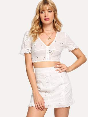 a8c04753ef8ab Shein Eyelet Embroidered Crop Top & Ruffle Skirt Set