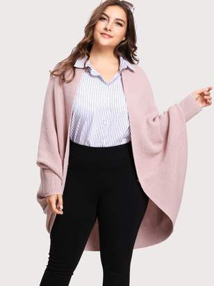 Shein Plus Curved Dip Hem Open Front Dolman Cardigan