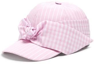 Federica Moretti Lu striped bow-embellished cap