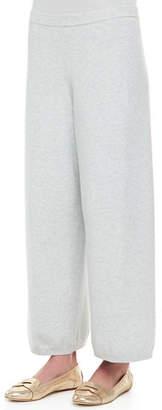 Joan Vass Wide-Leg Knit Pants, Plus Size