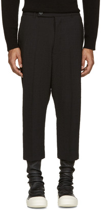 Rick Owens Black Textured Cropped Astaires Trousers $735 thestylecure.com