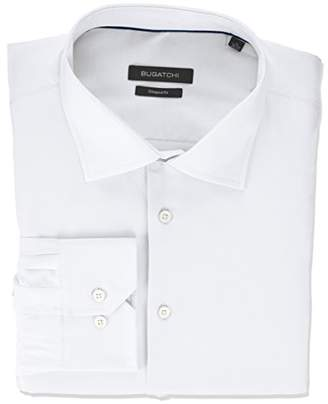 Bugatchi Men's Shaped Fit Printed Voile Texture Point Collar Dress Shirt