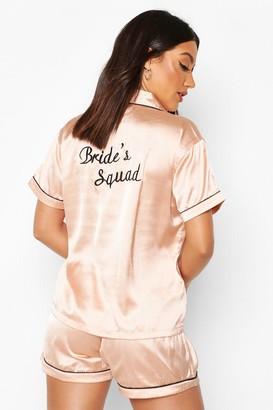boohoo Brides Squad Satin Short Set