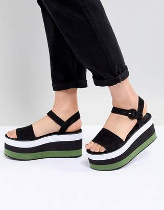 Pull&Bear flatform sandal in color block