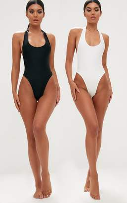 PrettyLittleThing Black/White 2 Pack High Leg Swimsuit