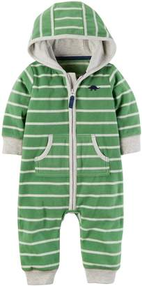 Carter's Baby Boys Fleece Hooded Romper Jumpsuit