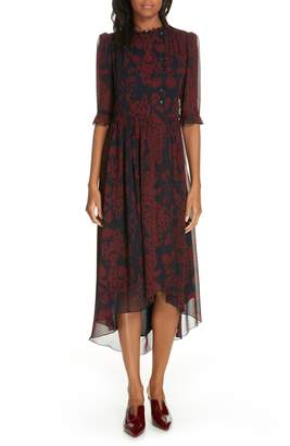 BA&SH Baleares High/Low Chiffon Print Dress