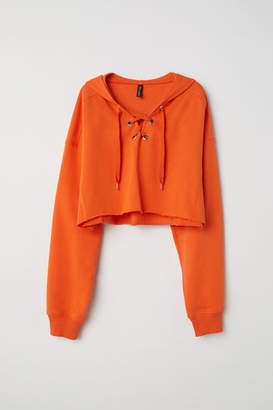 H&M Hooded Sweatshirt with Lacing - Orange