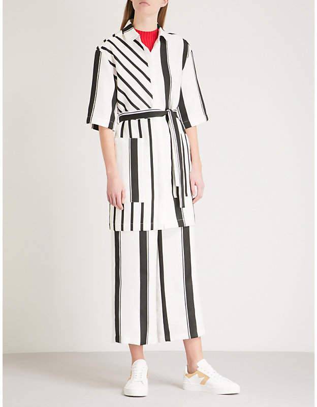 Ronson striped crepe shirt dress