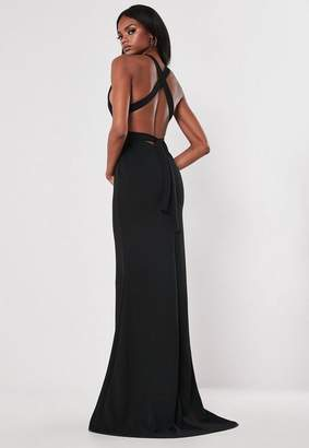 Missguided Black Crepe Halterneck Bodycon Maxi Dress