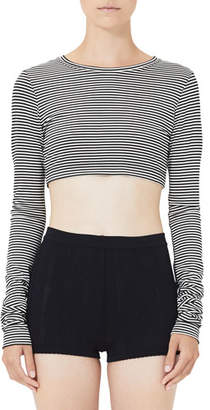 Marc Jacobs Mini-Striped Long-Sleeve Crop Top