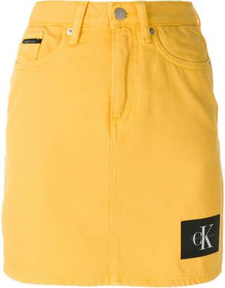 Calvin Klein Jeans logo patch denim skirt