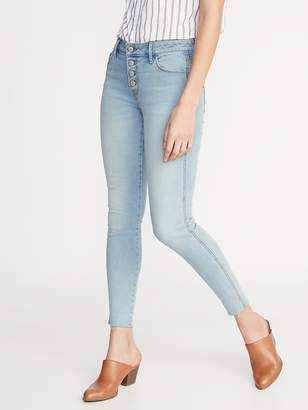 Old Navy Mid-Rise Button-Fly Raw-Edge Rockstar Ankle Jeans for Women