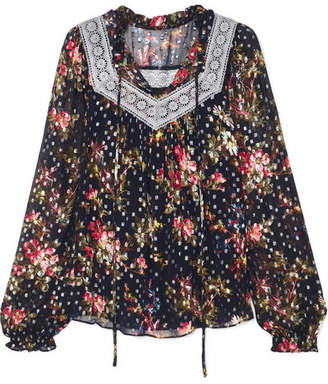 Needle & Thread Winter Forest Floral-print Fil Coupé Chiffon Top - Navy