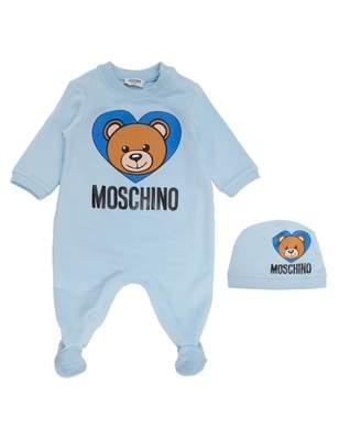 Moschino Heart Sleepsuit And Hat Giftbox