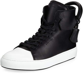 Buscemi Men's 125mm Leather High-Top Sneakers, Black/White