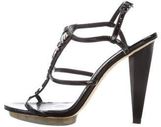 Brian Atwood Embellished Patent Leather Sandals