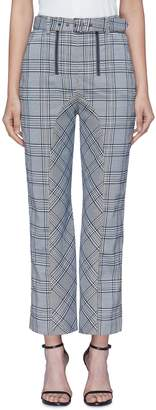 Self-Portrait Belted curved inseam check plaid pants