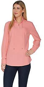 Denim & Co. Woven Half-Zip Long Sleeve Pullover