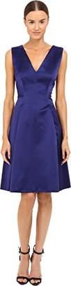 Alberta Ferretti Women's Sleeveless V-Neck Fit and Flare Satin Dress