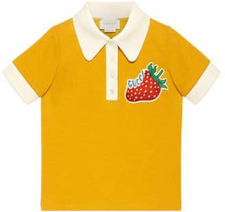 Gucci Logo Strawberry Patch Polo Shirt, Size 4-12