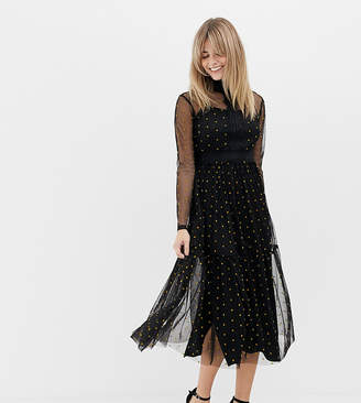 Lace And Beads Lace & Beads long sleeve tulle midi dress with mustard spot
