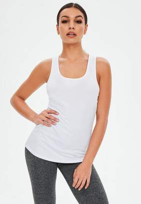 Missguided Active White Racer Back Tank Top