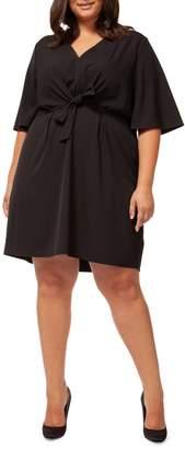 Dex Plus V-neck Tie-Front A-Line Dress