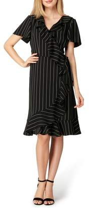 Tahari Stripe Ruffle Faux Wrap Dress