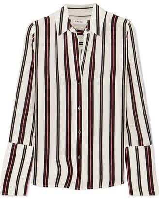 Frame Striped Silk Blouse - White