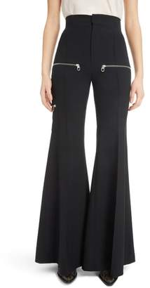 Chloé Zip Detail Stretch Wool Flare Trousers