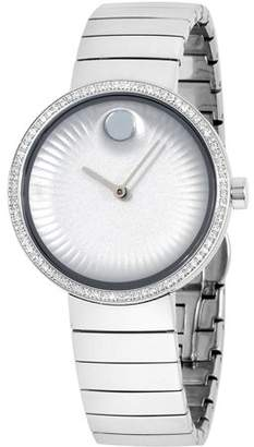 Movado Women's Diamond 34mm Steel Bracelet & Case Sapphire Crystal Quartz Silver-Tone Dial Watch 3680033