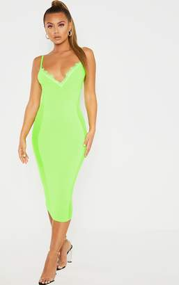 PrettyLittleThing Neon Lime Strappy Mesh Panel Lace Detail Midi Dress