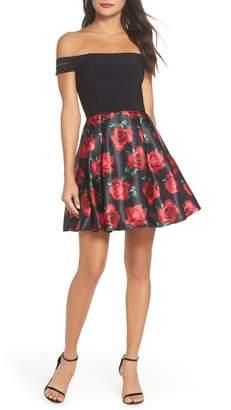 Blondie Nites Off the Shoulder Rose Fit & Flare Dress