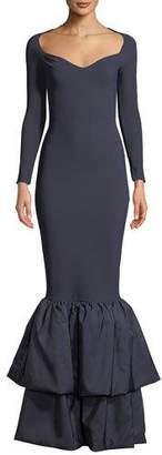 Chiara Boni Herma Tiered Mermaid Taffeta Gown